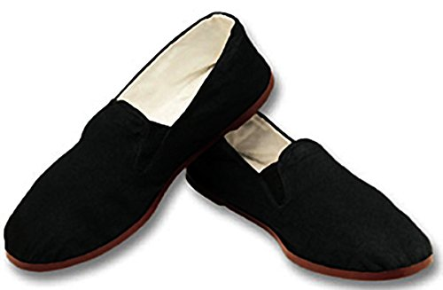 black cotton mary jane chinese dress shoes - 5
