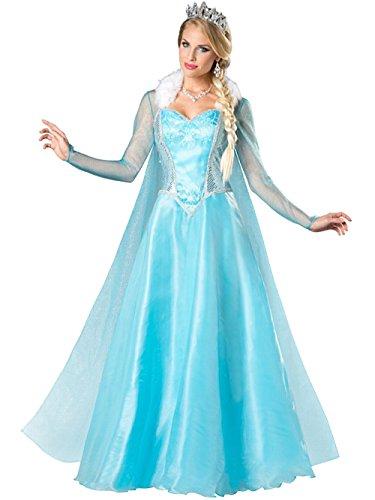 Blue Ice Elsa Snow Princess Costume