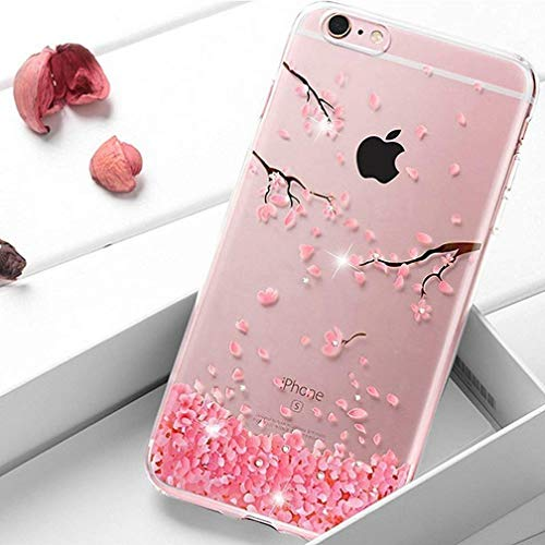 HMTECHUS iPhone 5 case SE case for Girl Glitter Transparent Sparkle Luxury Rhinestone Clear Rubber Gel Soft Flexible Silicone Inner Crystal Slim Cover for iPhone 5S TPU Pink Cherry Blossom