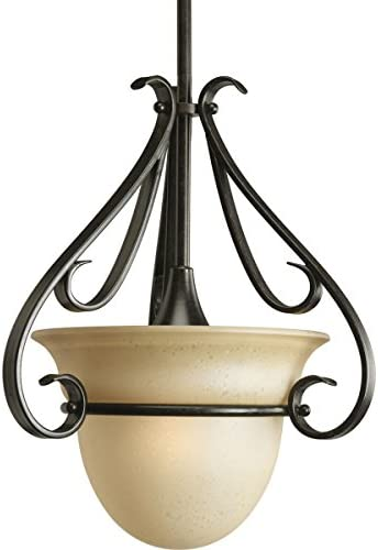 Progress Lighting P5144-77 1-Light Stem-Hung Mini-Pendant with Tea-Stained Bell-Shaped Glass Bowl and Squared Scrolls and Arms, Forged Bronze