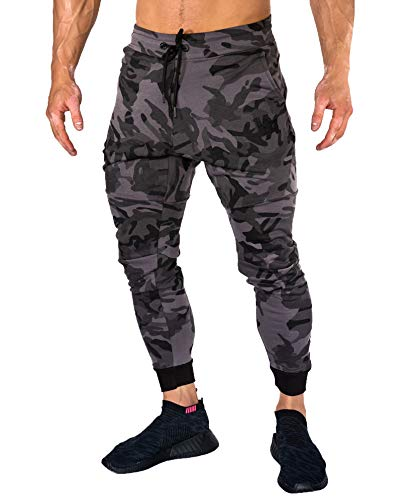 Camo Mens Pants Medium - YoungLA Jogger Pants for Men Slim Fit Workout Sports Activewear Gym 202 Camo Black X-Large