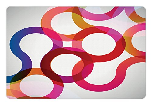 Vivid Curves (Abstract Pet Mats for Food and Water by Lunarable, Composition with Curves Vivid Colorful Twisted Forms Overlaps Modern Art Elements, Rectangle Non-Slip Rubber Mat for Dogs and Cats, Multicolor)