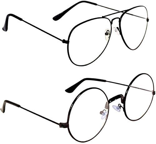 HIPPON Unisex Aviator Sunglasses Combo (Black, Clear), Free Size