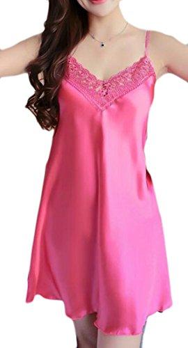 MLG Womens Nightgowns Classic Chemise Babydoll Satin Sleep Dresses Watermelon Red L