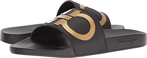 Salvatore Ferragamo Men's Groove 2 Slides, Black/Gold, 10 M US