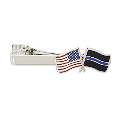 Thin Blue Line Police x USA American Flag Tie Clip -- Gold & Silver Tone Tie Bar!
