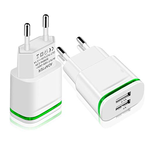 HiSung European Plug Charger, Max 2.1A 5V Dual European USB Wall Charger Power Adapter Charging Plug with LED Light for iPhone X 8/7/6/6S Plus 5S, iPad, Samsung Galaxy S8/S7/S6 Edge, HTC, LG, Moto