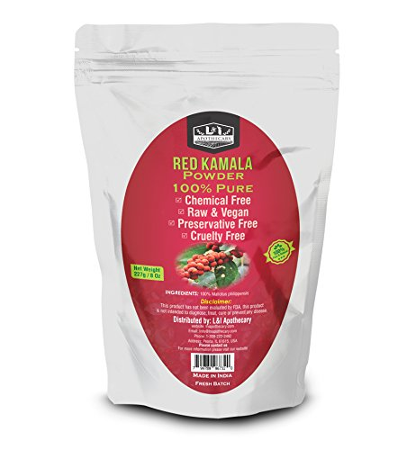 L&I Apothecary 227 Grams / 8 Oz Red Kamala/Mallotus philippensis Powder, 100% Pure & natural. Food Grade Herb for supplements, hair care & skin (Foods 8 Ounce Powder)