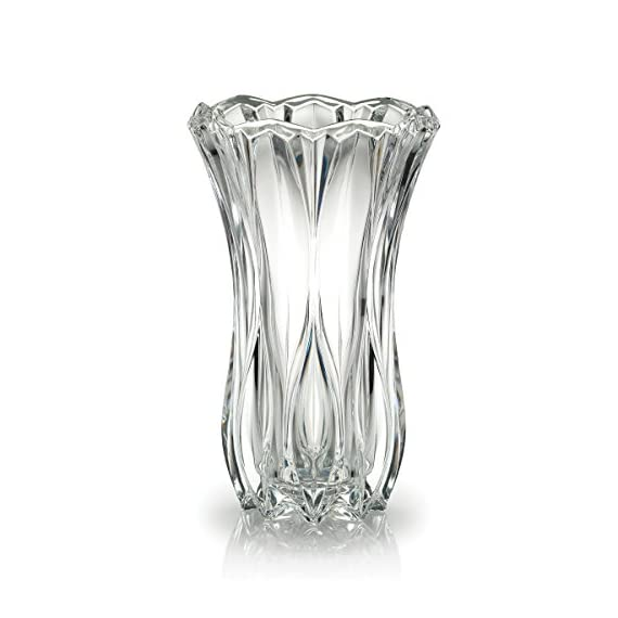 Celebrations by Mikasa Blossom Crystal Vase, 12-Inch - This vase provides both traditional and contemporary decor to your home 12-Inch crystal vase Beautifully crafted crystal - vases, kitchen-dining-room-decor, kitchen-dining-room - 419IWp46J2L. SS570  -