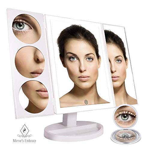 Hollywood Makeup Mirror with 44 Natural LED Touch Control Lights and a Large Lighted 10X 5X and 3X Magnifying Trifold Portable Touch Display with a 10X Travel Mirror - White (Plug Natural)