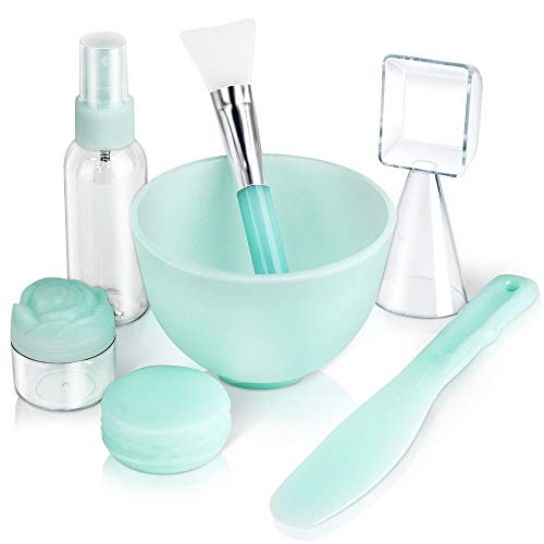 Silicon Mask Mixing bowl, Teenitor Facemask Mixing Tool Sets with Silicone Mask Bowl Silicone Mask Brush Mask Mixing Stick Spatula Measuring Cup Spray Bottle Cream Box Soaking Bottle Pack of 7 Green