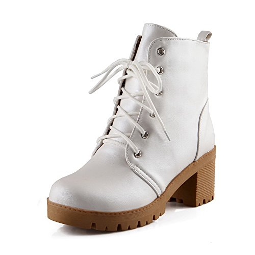 AllhqFashion Womens Soft Material Lace-Up Round Closed Toe Kitten Heels Solid Boots White Uc0TIkdrSf