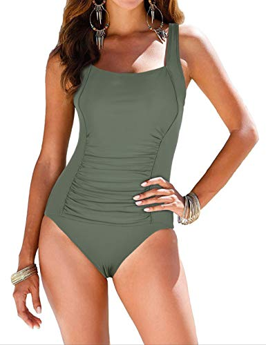 Firpearl Women's Backless One Piece Bathing Suit Ruched Tummy Control Swimsuit Army Green US 16