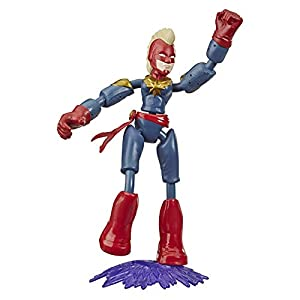 Avengers Marvel Bend and Flex Action Figure Toy, 6-Inch Flexible Captain Marvel Figure, Includes Blast Accessory, for Kids Ages 4 and Up