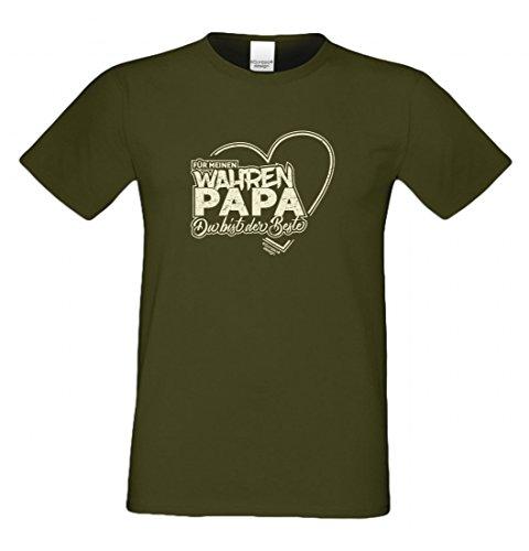T-Shirt als Geschenk für den Vater - Motiv mit Herz - Ein Dank für den wahren Papa mit Humor zum Vatertag oder einfach so, Größe 5XL Farbe 11-Khaki
