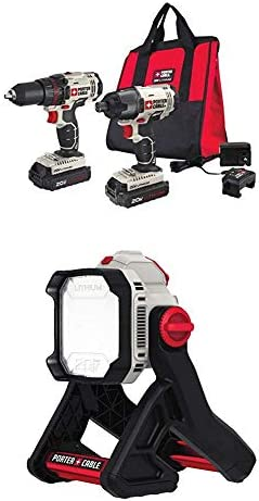 Porter-Cable PCCK604L2 20V Max Lithium Ion 2-Tool Combo Kit with PCCL500B 20V MAX Corded Cordless LED Area Light