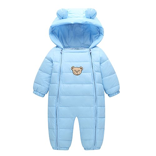 Funup Baby Boys Girls Winter Snowsuit Warm Winter Down Jacket Jumpsuit Pram Snuggly Tiny Bear Bunting  S  Light Blue