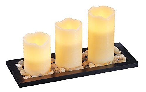 Flameless Pillar Candles, Set of 3 - Safe for Your Family and Pets - Vanilla Scented for Stress-Free Relaxation, Dripless Wax Candles with Wood Tray and Pebbles - Battery Operated Votives by Dynamic Collections