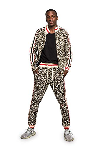 Men's Leopard Track Suit Set with Drawstring Waistband ST567 - Brown - Small - V1H