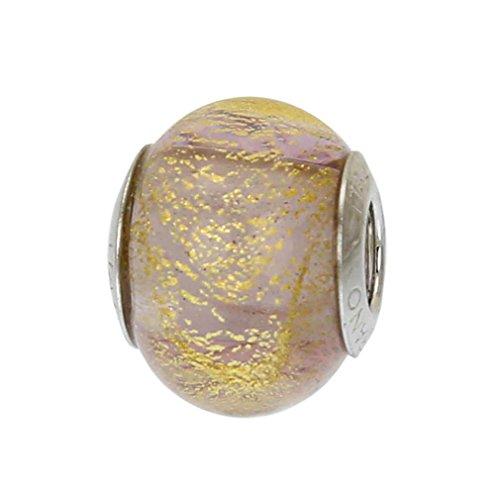 GlassOfVenice Murano Glass Sterling Silver Ca D'Oro Purple Charm Bead
