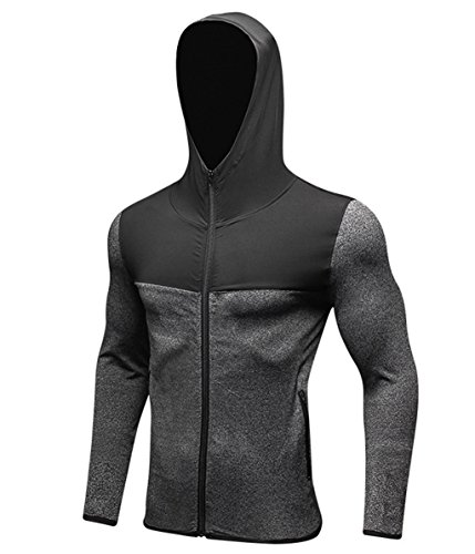 Tailloday Men's Quick-Dry Hoodies Running Sweatshirt Slim Fit Zip Up Fitness Gym...