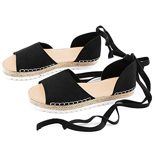 Genevo Women's Espadrille Ankle Strap Flat Sandals Summer Peep Toe Flip-Flop Shoes Fish Mouth Straw Shoes Mid Heel Shoes (6 M US, Black Swan)