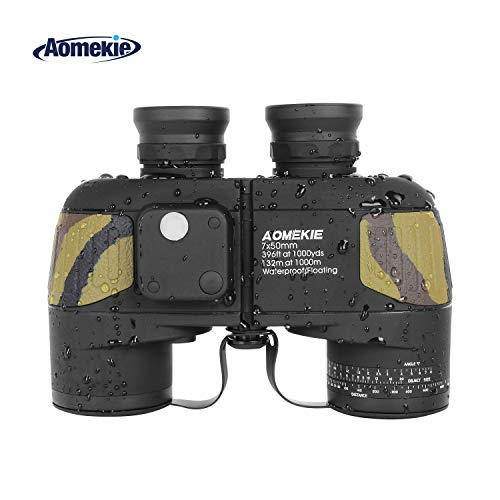 Aomekie Marine Binoculars 7x50 with Compass Rangefinder Waterproof Fogproof BAK4 Prism Lens for Navigation Bird Watching Boating and Hunting (Army Camouflage)