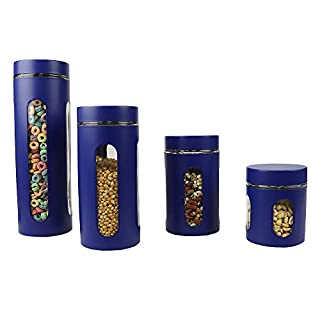 Home Basics 4-Piece Glass Canister Cylinder Set with Clear Window (Navy)
