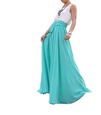 Melansay Beatiful Bow Tie Summer Beach Chiffon High Waist Maxi Skirt XXXL,Aqua