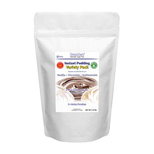GramZero Variety Pack Pudding Mix, 6/1 QT Yield (48 - 4 oz servings), Stevia Sweetened, SUGAR FREE ()