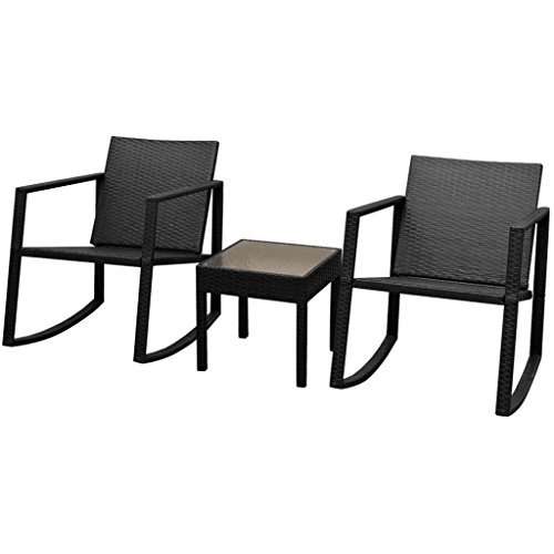 Hobbyesport 2 Rocking Chairs With Black Outdoor Table Polyrattan:  Amazon.co.uk: Garden U0026 Outdoors