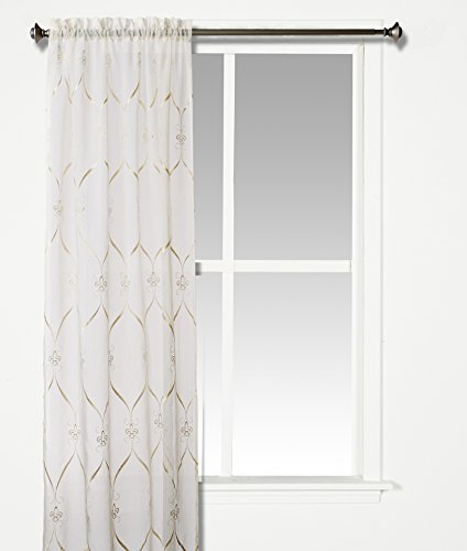 Croscill Cavalier Sheer Tailored Panel, 40-Inch by 84-Inch, Ivory - Croscill Window Treatments