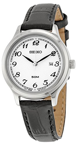 (Seiko SUR775 Women's Stainless Steel Black Leather Strap Band Silver Dial Watch by Seiko Watches)