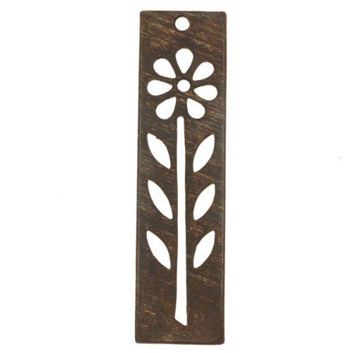 Vintaj Natural Brass Long Tall Rectangle Flower Stencil Pendant 48mm (1)