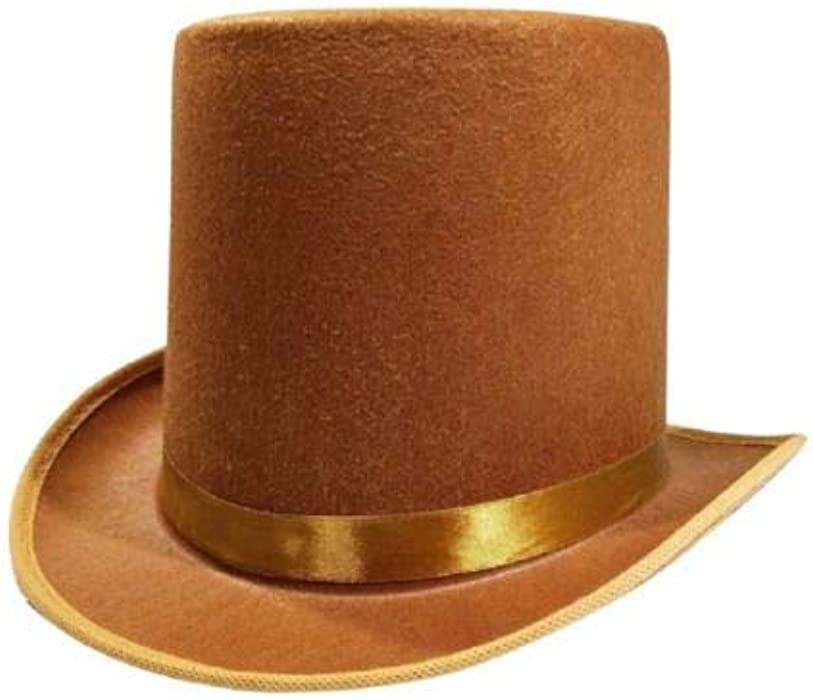 27ba37c48299a Rocky s Rocket Halloween Mens Tall Brown Willy Wonka Dickens Caroler  Steampunk Coachman Top Hat Topper Costume