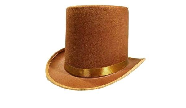 4477de8b141e7 Amazon.com  Rocky s Rocket Halloween Mens Tall Brown Willy Wonka Dickens  Caroler Steampunk Coachman Top Hat Topper Costume  Clothing