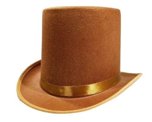 Rocky's Rocket Halloween Mens Tall Brown Willy Wonka Dickens Caroler Steampunk Coachman Top Hat Topper Costume