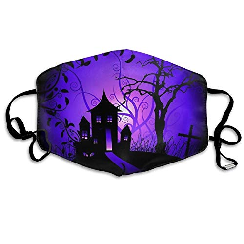 (SOADV Mouth Masks Anti Dust Face Mouth Cover Mask Halloween Cartoon Castle Anti Pollution Breath Healthy)