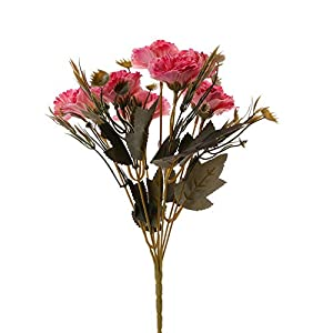 Childplaymate Artificial Silk Flowers Carnation Bride Bouquet for Home Party Decor (Rose Red) 39