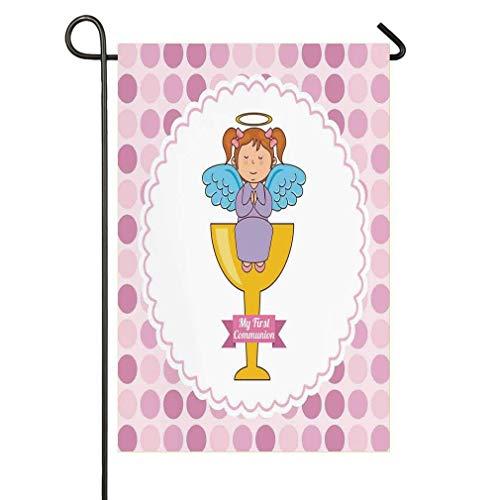 - My First Communion Design Girl Sitting on Golden Welcome Garden Flag, Yard Flag 18