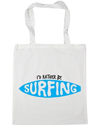 HippoWarehouse I 'd Rather BE SURFING Tote Compras Bolsa de playa 42cm x38cm, 10litros blanco