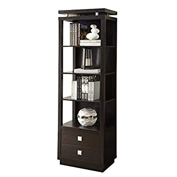 Coaster 800354-CO Entertainment Units Collection 74 Tall Media Tower with 2 Drawers 4 Shelves Square Metal Hardware and Wood Construction, Cappuccino Finish