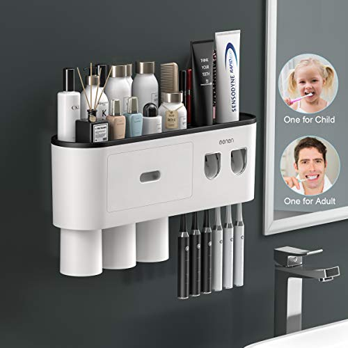TuCao Double Automatic Toothpaste Dispensers Squeezer Kit with Toothbrush Holder Wall Mounted, Large Storage Organizer with 6 Toothbrush Slots, 3 Magnetic Cups and Cosmetic Organizer Drawer (3 Cups)