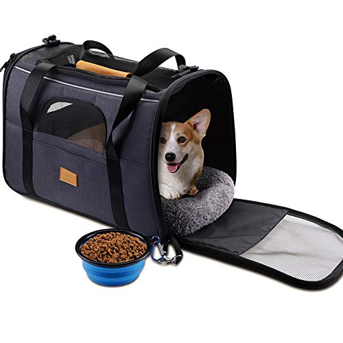 Deluxe Pet Carrier - Pet Carrier Airline Approved Soft Sided for Cats and Small Dogs Portable Cozy Travel Pet Bag with Collapsible Pet Bowl