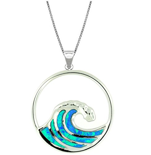 Sterling Pendant Silver Wave - 925 Sterling Silver w/ Synthetic Opal Wave Pendant (M) with 18