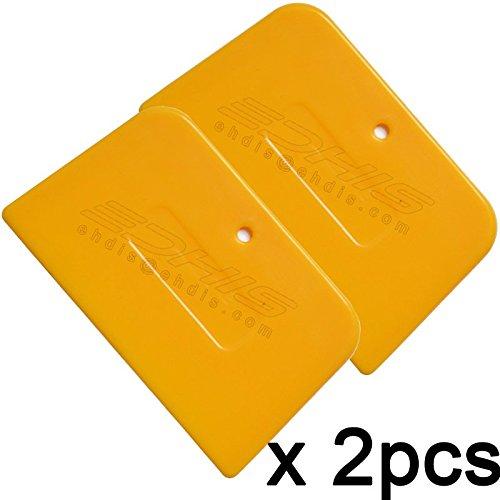 BIN BON - 2pcs mini scraper blade scratch board yellow smooth trapezoid scraper 13.5x8cm car vinyl wrap plastic squeegee tinting tool 2A07 ()