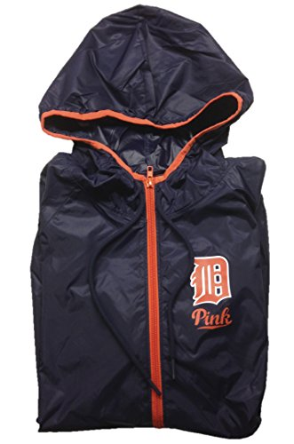 Detroit Tigers Hooded Jacket - Victoria's Secret Pink Detroit Tigers Anorak Half Zip Hoodie Medium/Large Navy