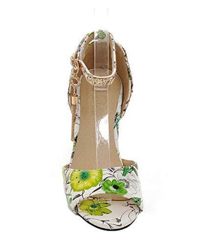 Mélangées Couleurs Cuir Femme Sandales Tsflh006109 Aalardom Ouverture Vert Boucle D'orteil Pu 0THgXY