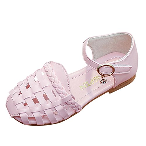 Price comparison product image Sunbona Children Baby Girls Hollow Flat Sandals Princess Mary Jane Slip on Ballerina Sneaker Shoes (9.5M US Toddler, Pink)