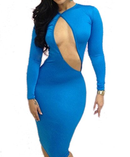 OUCHI Sexy Women Long Sleeve Hollow Bandage Club Party Cocktail Prom Dress
